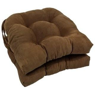 Microsuede Fabric Dining Chair Cushion-Set of 2- Chocolate Brown