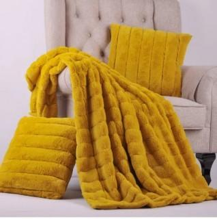 """Willa Arlo Interiors Grenville Rabbit Faux Fur Throw With 2 Pillows (WRLO1272_22107401_31422124)-in Lemon Curry-60""""x80"""""""