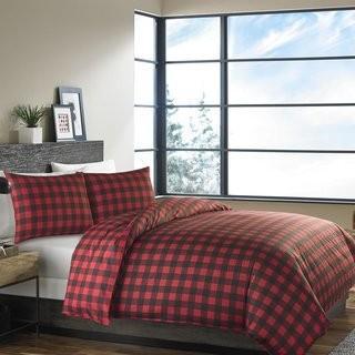 Eddie Bauer Mountain 100% Cotton Reversible Comforter Set (ERB1422_27068467_27068466)-Red-Twin