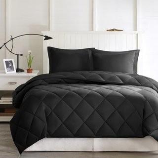 Ebern Designs Boivin Reversible Comforter Set (EBDG3311_24596688_24596690)-King-Black/Grey