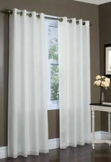ThermaVoile-Rhapsody Lined Window Curtain Panel-White-Set of 2