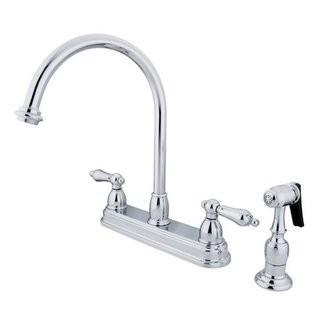 Kingston Brass Restoration Double Handle Kitchen Faucet with Side Spray KBBB2899_11177387)-Polished Chrome
