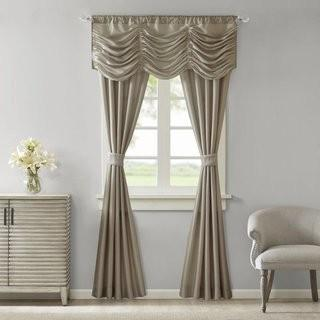 Ophelia & Co. Jaliyah Solid Faux Silk 5 Piece Curtain Panels Set OPCO5629_25296411)-Taupe