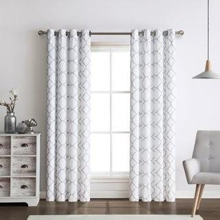 Red Barrel Studio Foley Quatrefoil Elegance Geometric Blackout Grommet Curtain Panels RDBT6273_24092204)-Grey