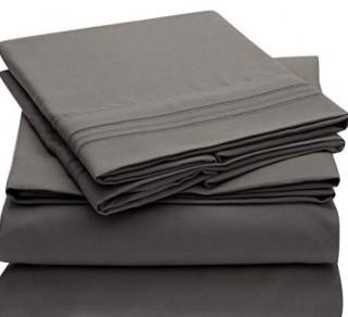 Mellanni Sheet Set Brushed Microfiber 1800 Bedding-Wrinkle Fade, Stain Resistant-Hypoallergenic-4 Piece-Full-Grey