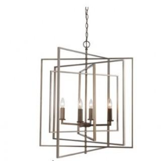Mercury Row Yarnell 4-Light Square/Rectangle Chandelier (MROW7881_19680206)-Antigue Silver Leaf