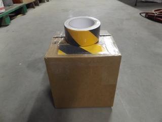 "Lot of (5) Rolls of 2""x5m Black & (5) Rolls of 2""x5m Black & Yellow Anti-Slip Adhesive Tape"