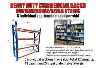 Unused Heavy Duty Warehouse Steel Shelving Racks Control # 7297.
