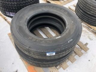 Lot of (2) NT366 11R24.5 Steering Tires Control # 7690.