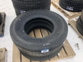Lot of (2) NT366 11R22.5 Steering Tires Control # 7695.