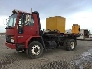 1993 Ford CF 8000 Deck Truck c/w 6 Cyl Diesel, 5 Spd, 17' Deck, (2) Tanks, 11R22.5 Front, 12R22.5 Rear Tires. Showing 205,183 Kms. Out of Province. S/N 1FDYH81A8PVA04016