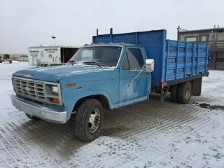 1986 Ford S/A Deck Truck c/w 7.5L, 4 Spd, 12' Deck. Showing 161,795 Kms. S/N 1FDKF37L9GKA65609