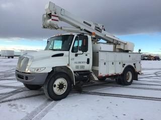2006 International 4300 S/A Bucket Truck c/w DT466, Auto, A/C, Hi-Ranger TL44M, 11R22.5 Tires. Showing 151,860 Kms. Unit # U5614. S/N 1HTMMAANX6H214478