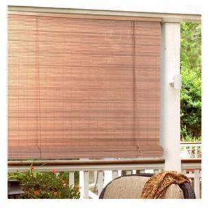 "Lewis Hyman 0321236 36"" Wide x 72"" Long Woodgrain PVC Patio Roll Up Shade"