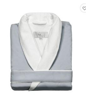 Kassatex Fine Linens Spa Bath Robe-Silver Sage-L/XL