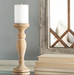 Lark Manor Artisan Wooden Candleholder (LRKM1252)-10.13H