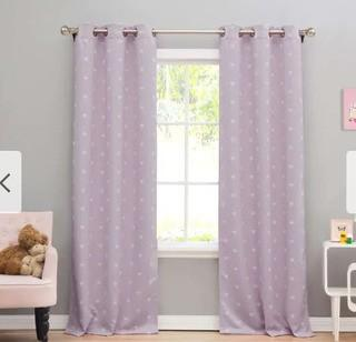 "Lala Bash Kelly Hearts Printed Blackout Curtain Panel Pair - 74x84""-Lavender"