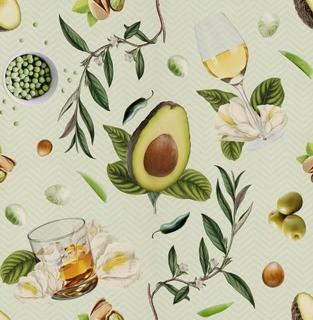 Walls Need Love Dinner and Drinks Removable 8' x 20 Wallpaper (WANL2696)