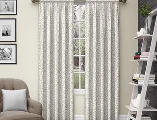Pairs to Go Pinkney Rod Pocket Curtain Panel Pair - 56x84 - 84 Inches-Neutral- 2 Panels
