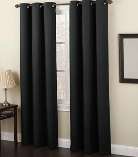 "No. 918 Millennial Montego Indoor Solid Semi-Sheer Grommet Single Curtain Panel (LCTN1152_27340963_27373602) - Black / 48""x63"" / 2 pcs?"