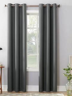 "No. 918 Millennial Montego Indoor Solid Semi-Sheer Grommet Single Curtain Panel (LCTN1152_27340963_27373602)-Charcoal-2 Panels-48x63"""