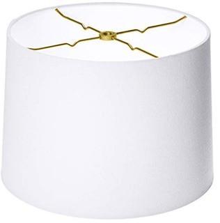 Royal Designs Shallow Drum Hardback Lamp Shade, Linen White, 11 x 12 x 8.5 (HB-610-12LNWH)