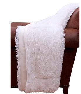 "Thro by Marlo Lorenz White Chubby Faux Fur Decorative Throw, Bright-50x60"""