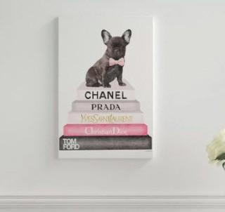 "Book Stack Fashion French Bulldog Art Print-Wood-15x10""-Damaged Side"