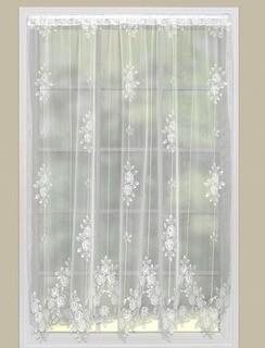 "Heritage Lace Tea Rose Graphic Print & Text Sheer Rod pocket Single Curtain Panel (HLJ1829_16685741_16685744)60x63""-White-2 Panels"