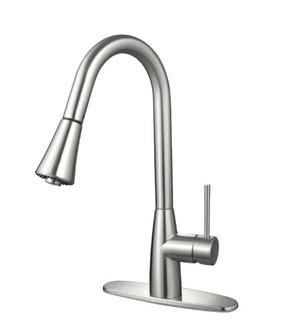 """Hardware House Single Handle Kitchen Faucet (HAW1199_17497557)-Satin Nickel Finidh-8"""" Center"""