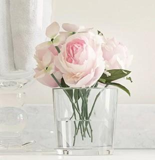 Willa Arlo Interiors Hydrangea and Rose Arrangement in Glass Vase (WLAO3798)