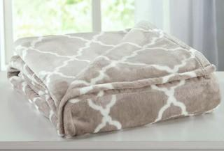 Home Fashion Designs Ultra Velvet Plush Super Soft Printed Bed Blanket with Lattice Scroll (HFAS1417_21169717_21210646)-Taupe-Twin