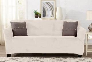 """Symple Stuff Velvet Plush Form Fit T-Cushion Sofa Slipcover (HFAS1780_28765632)-Cappuccino-Fits Most Sofas Up To 90"""" Wide"""