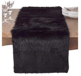 "Greyleigh Branchville Glam Faux Fur Topper Table Runner (GRYL6311_33396095)-Black-15x73""-2PC"