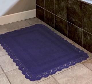 "Laura Ashley Crochet 100% Cotton Bath Rug (LBA3810_22379381_22342815)-Navy-17x24"""