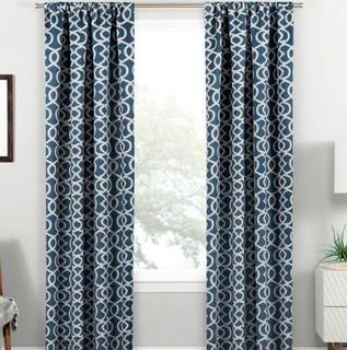 "Mercury Row Van Siclen Geometric Blackout Thermal Rod Pocket Single Curtain Panel (MCRW6729_24749141_24749139)-2 Panels-Indigo 37x84"""