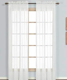 ?Carlo Sheer Window Curtain Panel, 59 by 95-Inch, White, 4PC