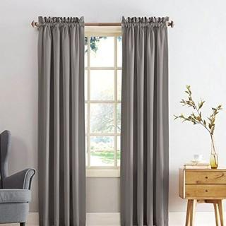 "Sun Zero Barrow Energy Efficient Rod Pocket Curtain Panel, Gray, 54x84""-2PC"