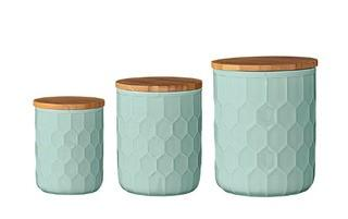 Bloomingville A21700007 Set of 3 Mint Green Canisters with Bamboo Lids