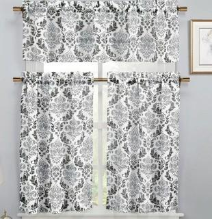 "Rosdorf Park Loradine 3 Piece Faux Linen Kitchen Curtain Set (ROSP4111_22932175)1-58x15"", 2-74x91"", Black/Silver"