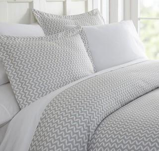 Puffed Chevron Patterned Performance Light Gray King 3-Piece Duvet Cover Set