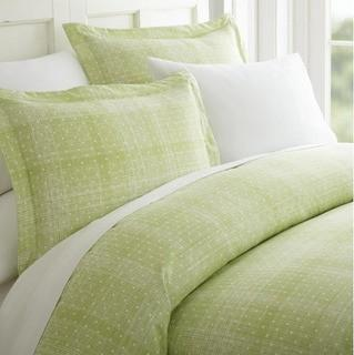 Polka Dot Patterned Performance Moss Queen 3-Piece Duvet Cover Set