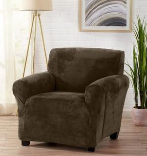 "Great Bay Home Velvet Plush Form Fit Chair Slipcover, Walnut Brown, Fits Up To 43"" Wide"
