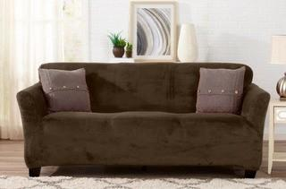 "Great Bay Home Velvet Plush Form Fit Sofa Slipcover - Walnut Brown, Fits up To 90"" Wide"
