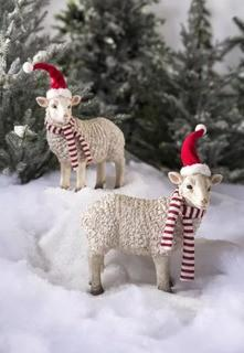 Plow & Hearth Holiday Sheep Garden Accents, Set of 2. Broken Ear/Leg, No Scarves