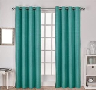 Exclusive Home Raw Silk Thermal 96-in H Grommet Top Curtain Panels (Set of 2), Teal