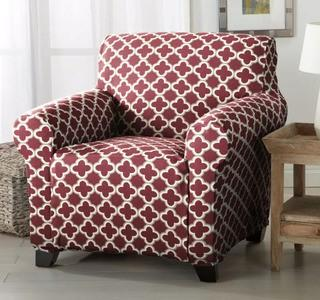 Home Fashion Designs Brenna Box Cushion Armchair Slipcover (HFAS1314_20357621)Burgundy