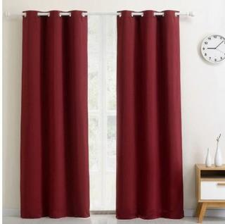 "Thermalogic Thermaplus Midnight Curtain Panels 40x84"", Red"