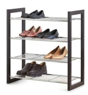 "Essential Needs Stackable Shoe Shelf-As Is-25x12x27"", Brown"