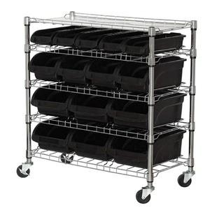 Sandusky Lee MBU3317BIN15 Mobile Wire Shelving with 15 Plastic Bins, 38-Inch Height x 33-Inch Width x 16.5-Inch Depth, Chrome